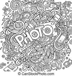 かわいい, 碑文, 写真, 手, doodles, 引かれる, 漫画