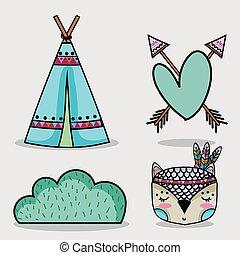 かわいい, 種族, セット, 森林, 動物