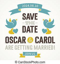 かわいい, 結婚式, 鳥, 招待
