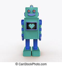 かわいい, 緑の青, render, 心, 型, スクリーン, 隔離された, ロボット, ライト, bub, icon., プラスチック, 光沢がある, ピクセル