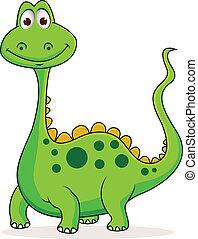 かわいい, 緑, 漫画, 恐竜