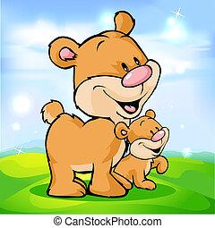 かわいい, 緑, 熊, 牧草地, 家族