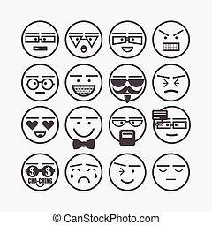 かわいい, 線, セット, emoticons, アイコン