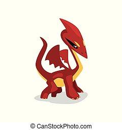 かわいい, 翼, 動物, 面白い, charactercartoon, イラスト, ドラゴン, ファンタジー, ベクトル, 背景, 赤ん坊, 白
