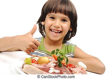 かわいい, 肉, プレート, 男の子, ポジティブ, 野菜, 料理, 未加工, 読書