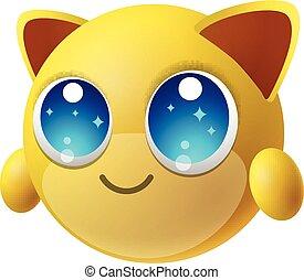かわいい, 背景, 特徴, 隔離された, 動物, 大きい目, 漫画, emoji
