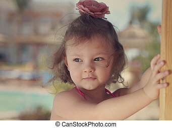 かわいい, 自然, 考え, 見る, バックグラウンド。, クローズアップ, 肖像画, 女の子, 色