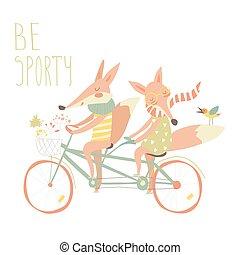 かわいい, 自転車, 恋人, キツネ, タンデム, 乗車