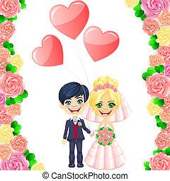 かわいい, 花婿, 花嫁, ベクトル, 招待, 結婚式, 漫画