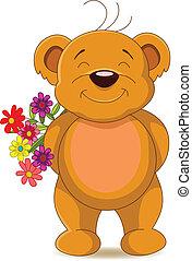 かわいい, 花, 熊, ブラウン