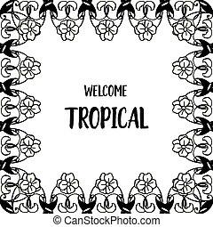 かわいい, 花, wellcome, フレーム, イラスト, トロピカル, ベクトル, 華やか, カード