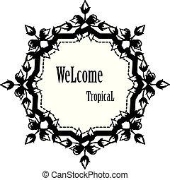 かわいい, 花, wellcome, フレーム, 現代, イラスト, トロピカル, ベクトル, デザイン, カード