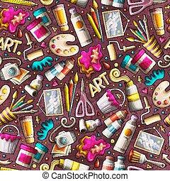 かわいい, 芸術, パターン, seamless, 手, デザイン, 引かれる, 漫画