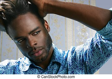 かわいい, 若い, アメリカ人, 黒, アフリカ, 肖像画, 人