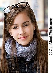 かわいい, 若い, 十代, 学生, girl.