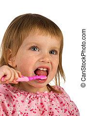 かわいい, 若い 女の子, ブラシをかけること, 彼女, 歯