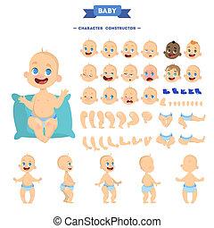 かわいい, 若い, 男の赤ん坊, 特徴, アニメーション, セット