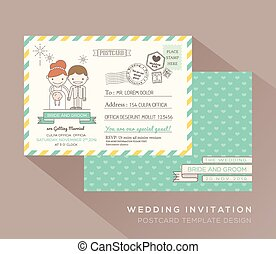 かわいい, 葉書, デザイン, テンプレート, 結婚式, カード