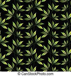 かわいい, 葉, ベクトル, seamless, パターン