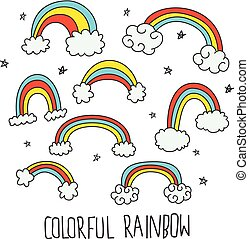 かわいい, 虹, いたずら書き, 隔離された, 背景, 白