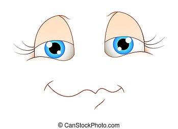 かわいい, 表現, 微笑, 顔