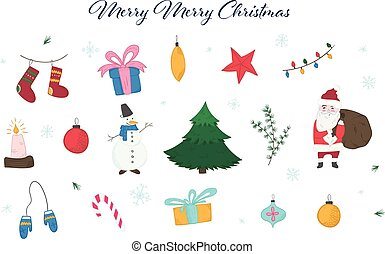 かわいい, 要素, カラフルである, いたずら書き, セット, クリスマス