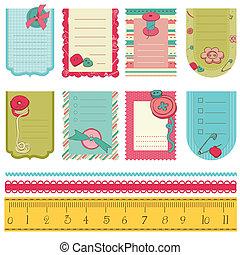 かわいい, 要素, タグ, -, ボタン, デザイン, 赤ん坊, スクラップブック