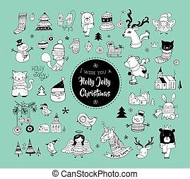 かわいい, 要素, 手, ステッカー, イラスト, 引かれる, クリスマス, doodles