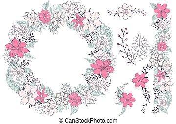 かわいい, 要素, 花, ベクトル, デザイン, カード