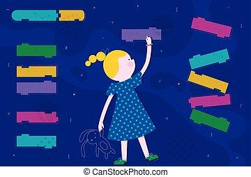 かわいい, 訓練, コード, 平ら, 抽象的, コーディング, screen., 概念, デザイン, 女の子, スタイル, 子供, 痛みなさい