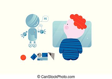 かわいい, 訓練, コード, 男の子, コーディング, スタイル, 平ら, 魅了, robot., 概念, デザイン, 子供