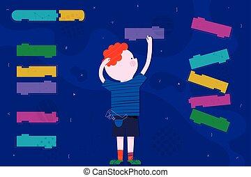 かわいい, 訓練, コード, 男の子, 抽象的, コーディング, screen., 平ら, 概念, デザイン, スタイル, 子供, 痛みなさい