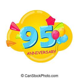 かわいい, 記念日, 漫画, テンプレート, 年, 95, イラスト