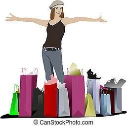 かわいい, 買い物, 有色人種, イラスト, ベクトル, bags., 女性