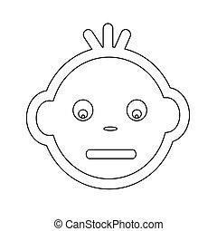 かわいい, 赤ん坊の 表面, 感情, アイコン, イラスト, シンボル, デザイン