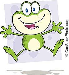 かわいい, 跳躍, 緑のカエル