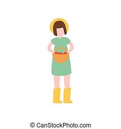 かわいい, 農場, ブーツ, ゴム, 黄色, 女の子, 帽子