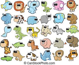 かわいい, 野生生物, セット, 動物, サファリ