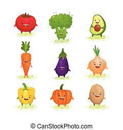 かわいい, 野菜, セット, kawaii