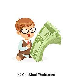 かわいい, 金融, 子供, 豊かさ, 男の子, お金, 山, 節約, ベクトル, イラスト, 保有物, ビジネスマン, 幼年時代