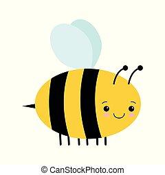 かわいい, 隔離された, 蜂, ベクトル, 背景, 白, 漫画