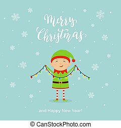 かわいい, 雪片, ライト, 妖精, クリスマス, 幸せ
