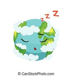 かわいい, 雲, 特徴, イラスト, 睡眠, 惑星, ベクトル, 地球, 白
