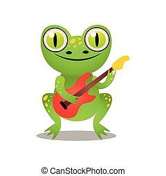 かわいい, 電気である, 面白い, カエル, ギター, 緑, 遊び