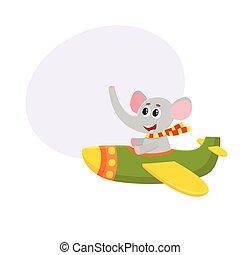かわいい, 面白い, 飛行, 特徴, イラスト, 飛行機, 象, 漫画, パイロット