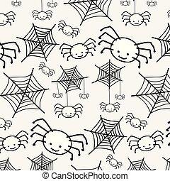 かわいい, 面白い, spider., パターン, 特徴, 赤ん坊, 白, 漫画