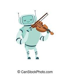 かわいい, 音楽家, ロボット, イラスト, 楽器, ベクトル, バイオリン, 遊び