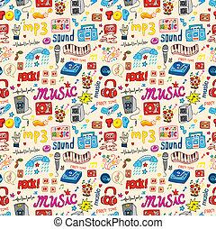 かわいい, 音楽, アイコン, seamless, パターン