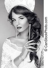 かわいい, 頭, ファッション, 女の子, 排他的, 魅力, kokoshnik, 肖像画, デザイン, モデル, 白...