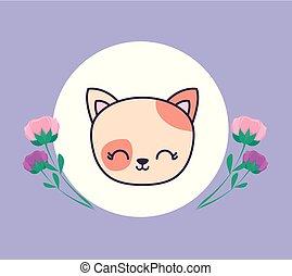 かわいい, 頭, フレーム, ねこ, 花, 円